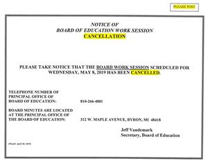 05/08/19 Board Work Session - Canceled