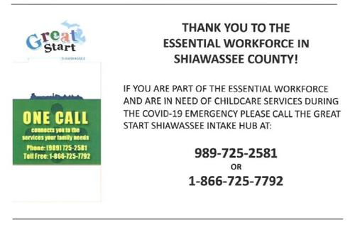 Essential Workforce Child Care Available